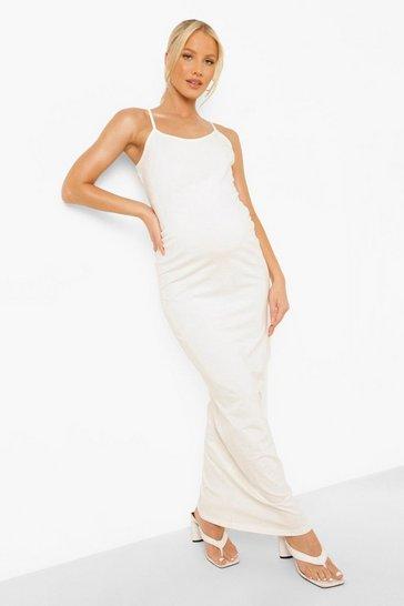 Stone beige Maternity Basic Strappy Maxi Dress