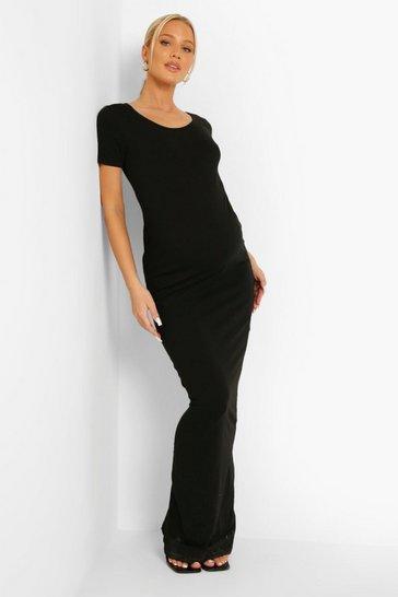 Black Maternity Short Sleeve Scoop Maxi