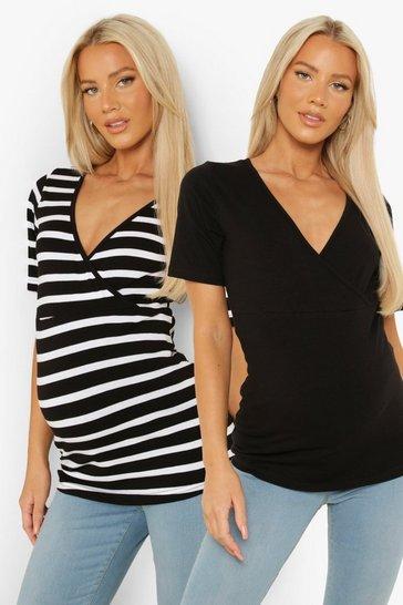 Black Maternity Stripe Nursing 2-Pack T-Shirt