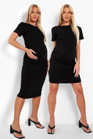 Black Maternity Bodycon Dresses 2 Pack