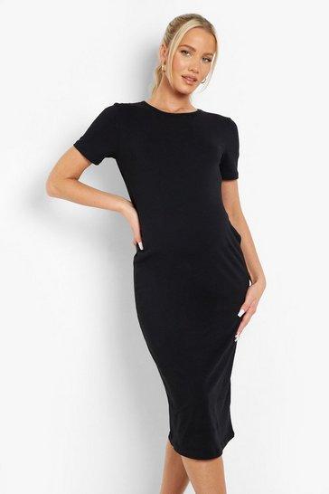 Black Maternity Bodycon Midi Dress