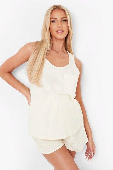Beige Maternity Seersucker Vest  Pyjama Short Set