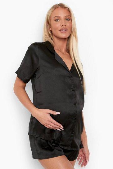 Black Maternity Satin Button Front Pj Short Set
