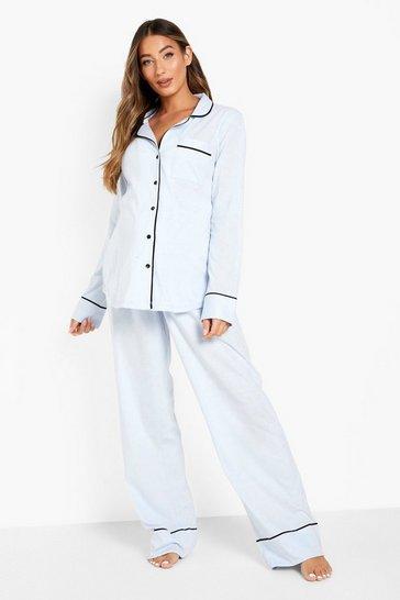 Blue Maternity Jersey Piping Button Pyjama Set