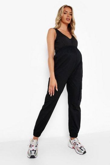 Black Maternity Elasticated Waist Cargo Trousers