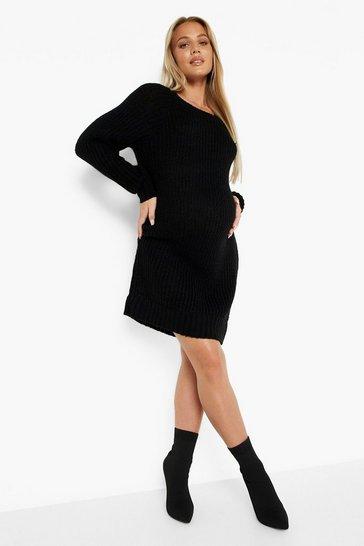 Black Maternity Crew Neck Jumper Dress