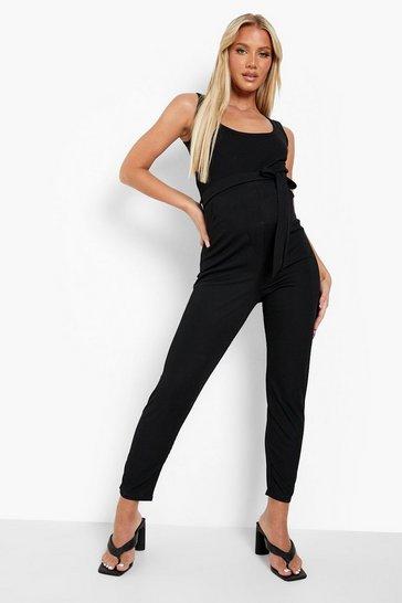 Black Maternity Rib Tailored Trousers