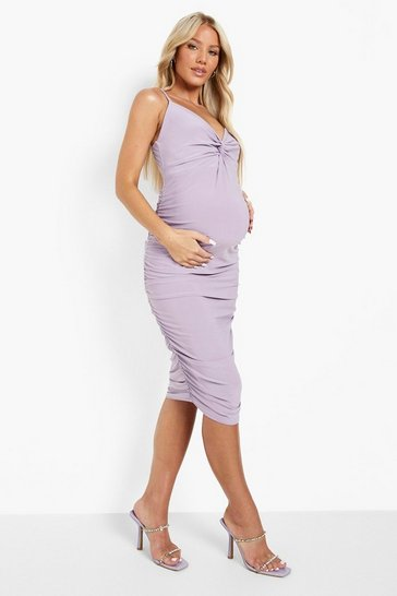Lilac purple Maternity Twist Front Ruched Midi Dress