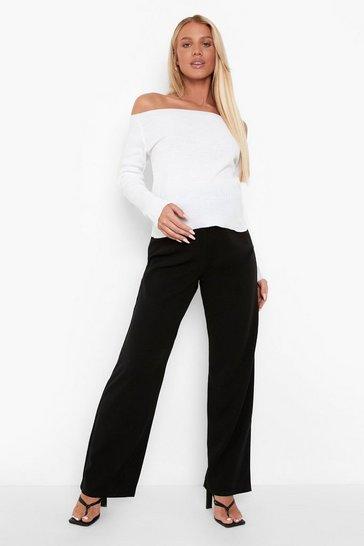 Black Maternity Wide Leg Crepe Trousers