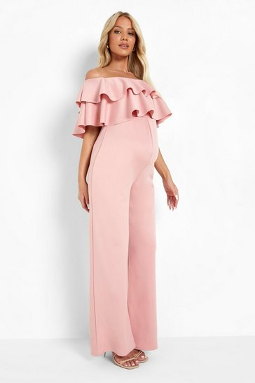 Rose pink Maternity Ruffle Off The Shoulder Jumpsuit