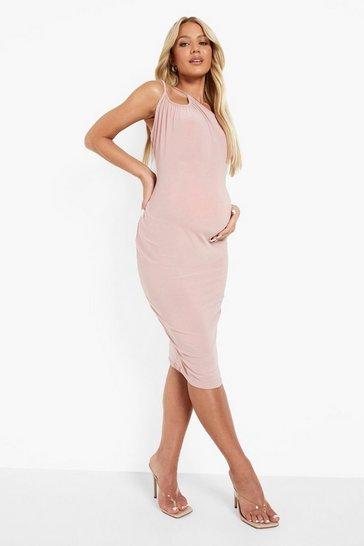 Rose pink Maternity One Shoulder Ruched Midi Dress