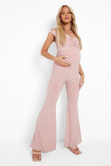 Rose pink Maternity Off The Shoulder Jumpsuit
