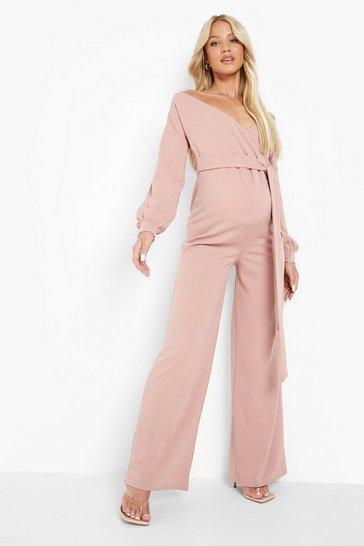 Rose pink Maternity Off The Shoulder Wide Leg Jumpsuit