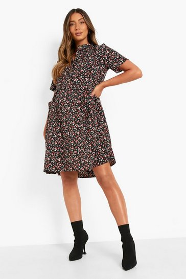 Black Maternity Floral Button Front Smock Dress