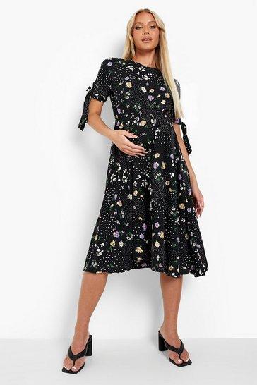 Black Maternity Floral Tie Sleeve Midi Shift Dress