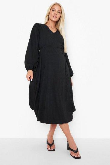 Black Maternity Crinkle Long Sleeve Wrap Midi Dress