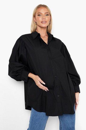 Black Maternity Balloon Sleeve Oversized Shirt