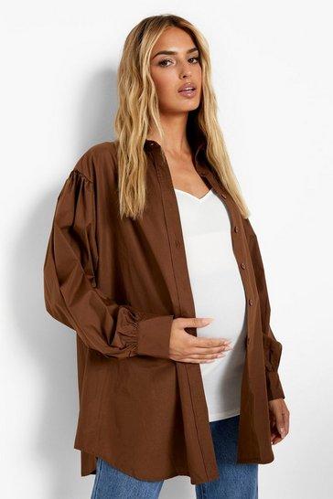 Chocolate brown Maternity Balloon Sleeve Oversized Shirt