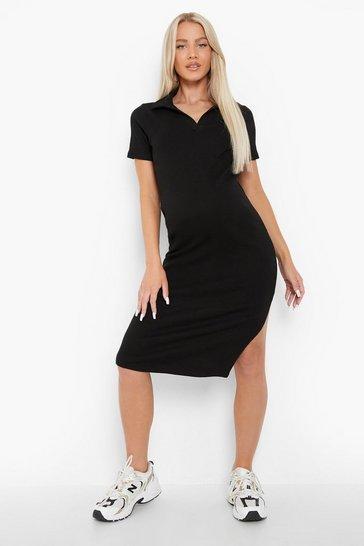 Black Maternity Collared Rib Midi Dress