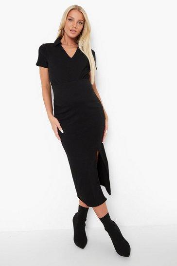 Black Maternity Side Split Rib Midaxi Skirt