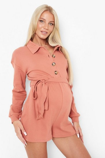 Cedar brown Maternity Button Front Rib Playsuit