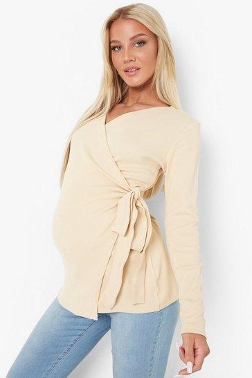Clay grey Maternity Rib Wrap Tie Waist Top