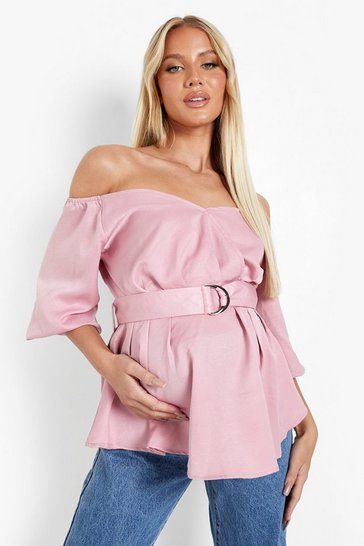 Rose pink Maternity Woven Off The Shoulder Blouse