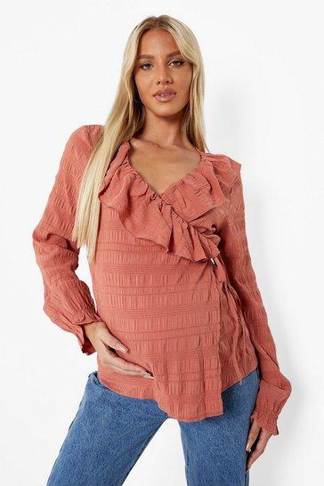 Rust orange Brown Maternity Crinkle Long Sleeve Wrap Top