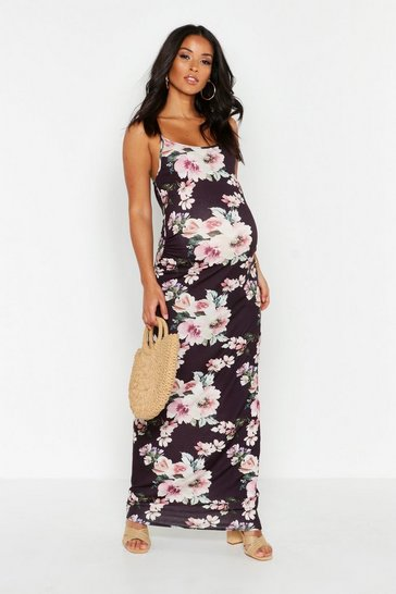 Black Maternity Recycled Floral Maxi Dress