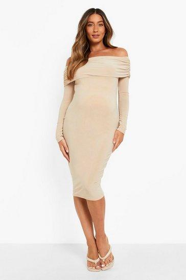 Stone beige Maternity Bardot Overlay Midi Dress