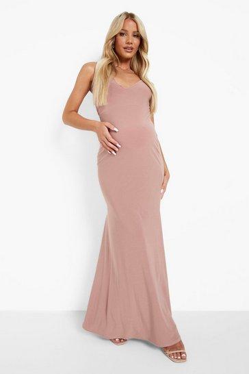 Blush pink Maternity Strappy Fishtail Maxi Dress