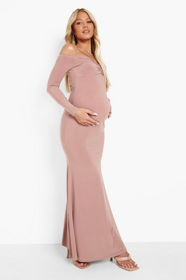 Rose pink Maternity Sweetheart Neck Maxi Dress
