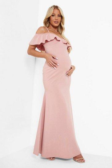 Rose pink Maternity Cold Shoulder Frill Maxi Dress