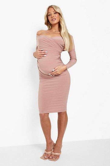 Rose pink Maternity Long Sleeve Off The Shoulder Midi