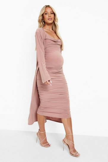 Mocha beige Maternity Strappy Cowl Neck Dress And Duster