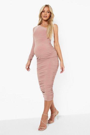 Blush pink Maternity One Shoulder Ruched Midi Dress