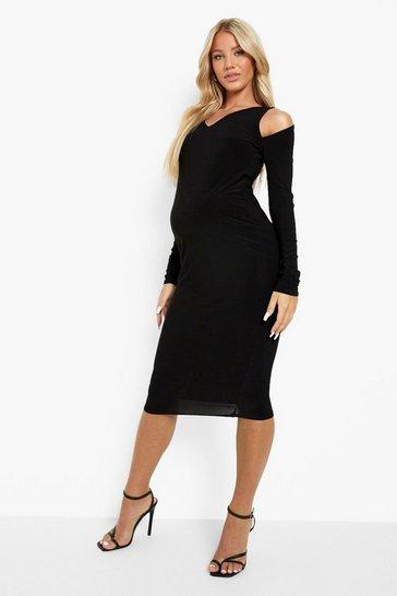Black Maternity Cut Out Detail Midi Dress