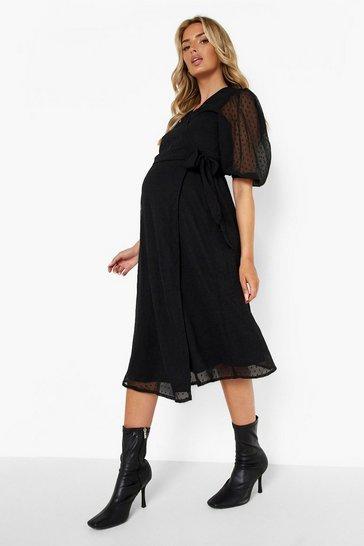 Black Maternity Dobby Mesh Wrap V Neck Midi Dress