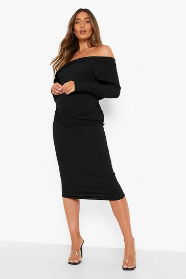 Black Maternity Rib Fold Over Midi Dress