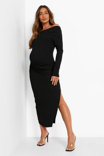 Black Maternity Premium Rib Bardot Midaxi