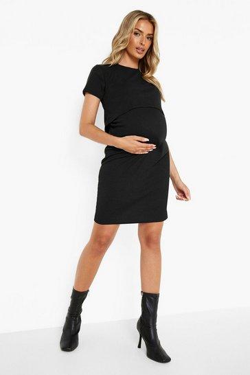 Black Maternity Rib Nursing Bodycon Dress