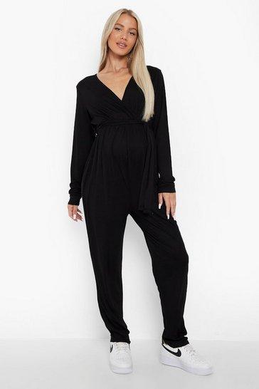 Black Maternity Long Sleeve Wrap Front Jumpsuit