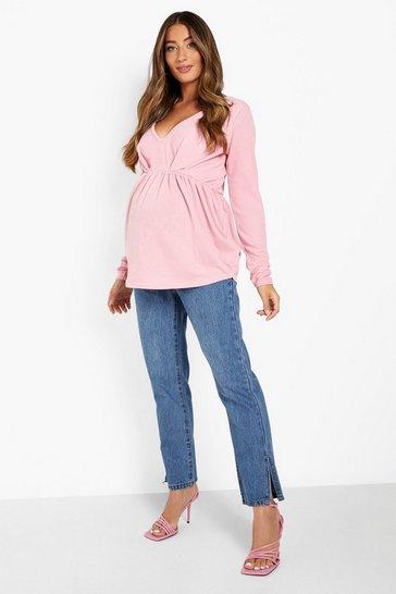 Blush pink Maternity Crepe Pintuck Long Sleeve Top