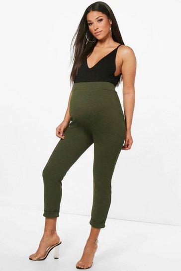 Khaki Maternity  Turn Up Cuff Trouser