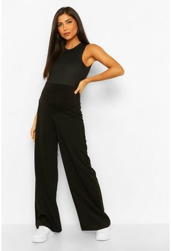 Black Maternity Wide Leg  Over The Bump Trouser