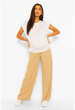 Stone beige Maternity Wide Leg  Over The Bump Trouser