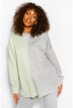 Grey Maternity Colour Block Sweatshirt