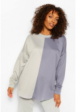 Petrol grey Maternity Colour Block Sweatshirt