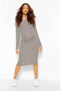 Camel Maternity Stripe Bodycon Midi Dress