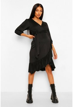 Black Maternity Ruffle Hem Puff Sleeve Wrap Midi Dress